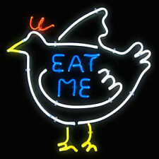 "New Chicken Eat Me Neon Light Sign 24""x20"" Lamp Poster Real Glass Beer Bar"