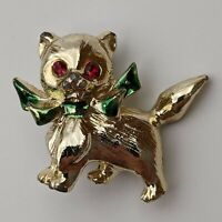 Vintage Gold Tone Red Rhinestone Eyes Green Bow Cat Brooch Pin