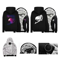 Anime Fairy Tail Cosplay Winter Thicken Hoodie Jacket Sweatshirt Black Coat