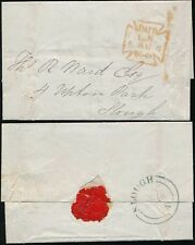 GB QV 1849 WRAPPER LONDON PAID MX in RED + SLOUGH in BLUE
