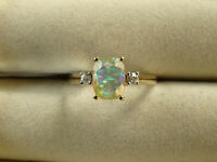AA Grade Ethiopian Crystal Opal & White Zircon 10K Yellow Gold Ring Size N-O/7