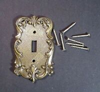 Vintage National Lock Light Switch Plate Swirl Scroll Antiqued Brass HC-3620-001
