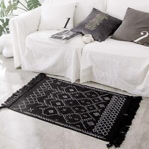 Boho Bathroom Rug Runner, Black White Bath Mat, Woven Cotton Small Throw Rug 2'x