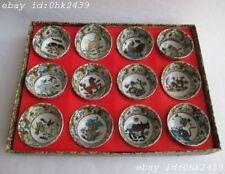 ancient China glaze porcelain delicate small bowl 12 zodiac signs. Tea set