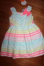 NWT Gymboree Ice Cream Parlor 2T Blue Pink Yellow Chevron Striped Bow Dress