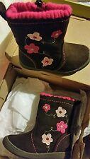 New Okie Dokie Toddler Girls Bree Boots Brown Pink Flower Design Size 6