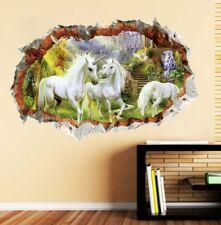 Einhorn Pferd XXL 3D Wandtattoo Aufkleber Wand Deko Wohnzimmer Kinderzimmer