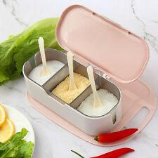 3 Grid Seasoning Box Set Spice Condiment Sugar Salt Storage Container Case