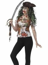 Zombie Pirate Wench T-Shirt, Large,Halloween Fancy Dress, Womens, UK 16-18