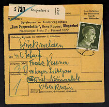1944 Klangenfurt Germany Parcel Cover Loibl Pass Concentration Camp Mauthausen