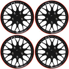 "4 Pc Set of 15"" ICE BLACK / RED TRIM Hub Caps Skin Rim Cover for OEM Steel Wheel"