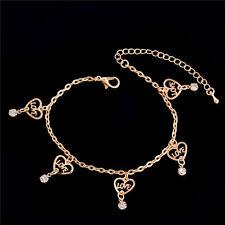 Women Barefoot Beach Anklet Bracelet Love Heart Crystal Rhinestone Gold Plated