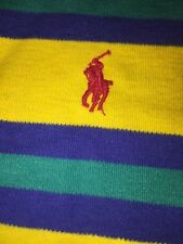 POLO By Ralph Lauren Yellow Striped Red Horse Mens Dress Casual Shirt Sz Large ~