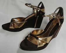 Beautiful Chinese Laundry Gold & Brown Wedge, Size 9, New