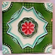 TILE JAPAN ART DECO MAJOLICA CRAMIC PORCELAIN FLOWER DESIGN GREEN COLLECTIBL#230