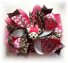 Minnie Mouse Hot Pink Brown Leopard 5 - 5 1/2 Inch Custom made Boutique Hair Bow