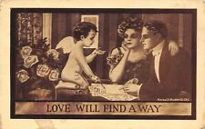 C Ryan~Love Will Find a A Way~Cupid Explains Fine Print to Couple~Sepia Postcard