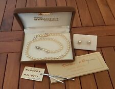 """Vintage Pearl Necklace With 925 Silver Clasp 16"""" Authentic Uniform Set Pearls"""