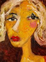 Original Framed Art Portrait Oil Painting on Primed Canvas