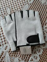 Mens Fingerless Driving Soft Leather Driving Gloves By Lorenz Brown/White New L