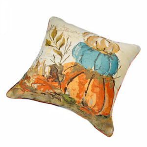 """Stacked Pumpkins Autumn Fall Harvest 20"""" Square Pillow Reversible Plaid Print"""