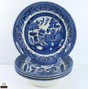 Set of 4 Churchill Staffordshire  WILLOW BLUE Cereal Bowls - England