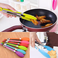 Silicone Kitchen Cooking Salad Serving BBQ Tongs Stainless Steel Handle~