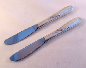 SILVER WHEAT-REED & BARTON SET OF 2 STERLING HH BUTTER SPREADERS