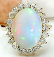 5.55CTW NATURAL OPAL AND DIAMOND RING IN 14K YELLOW GOLD