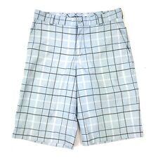 Nike Golf Men's Dri-Fit Light Blue Grey Plaid Checked Flat Front Shorts Sz 30
