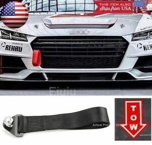 Black Bumper Crash Beam Tow Hook Strap w/ Red Tow Arrow Sticker For  Hyundai Kia