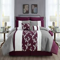 8 Piece Down Alternative filling Comforter, Comfy Embroidery Cozy Bedding(21560)