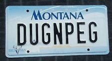 "MONTANA BIG SKY VANITY LICENSE PLATE "" DUG N PEG "" DOUG PEGGY DOUGLAS PEGGIE"