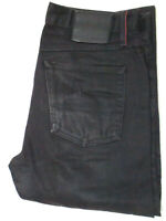 Gustin California Straight Raw Mens Black Button Fly Selvedge Jeans 34x36