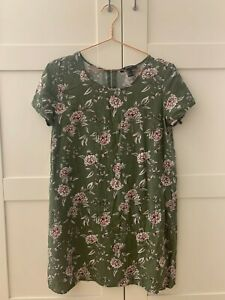 Khaki green/ dirty green floral shirt dress dress size UK S from Forever 21