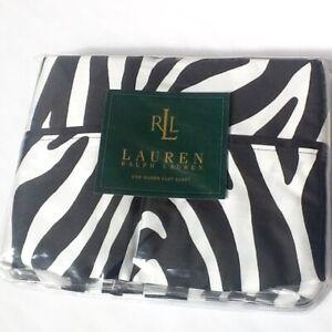 🦓 NEW Ralph Lauren Rodeo Drive 370 TC Sateen QUEEN Flat Sheet Black White Zebra