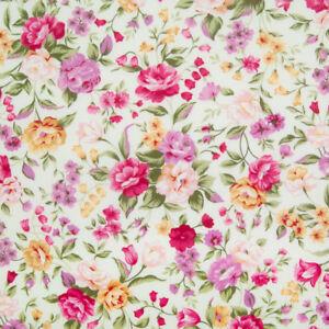 100% Cotton Poplin Rose & Hubble Fabric LILAC PINK FLORAL Fat Quarter Metre