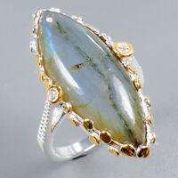 Labradorite Ring Silver 925 Sterling Vintage16ct+ Size 7.75 /R131017