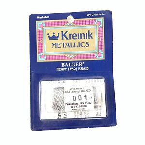 Kreinik Metallics Balger Heavy 32 Braid Silver In Package