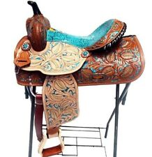 "15"" TEAL SNAKE WESTERN BARREL TRAIL HORSE TACK TOOLED PAINTED LEATHER SADDLE"