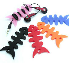 10pcs Pro Fish Bone Earphone Cable Cord Wire Winder Wrap Holder Concentrator