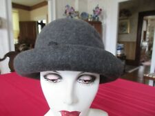 "SILPLAN LADIES BOWLER HAT CHARCOAL GRAY SIZE M 22"" DIAMETER CUTE DETAILING  WOOL"