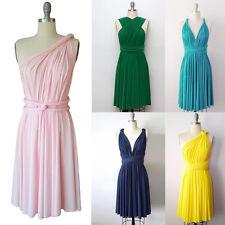 Women BridesmaidConvertible Multi Way Wrap Evening Party Prom Short Mini Dress