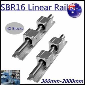 2XSBR16 300~1500mm Linear Rail Guide Slide Shaft Rod 4XSBR16UU Bearing Blocks AU