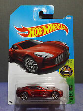 Hot Wheels 2017 ASTON MARTIN ONE-77 in RED. HW EXOTICS Series 7/10. Long Card,