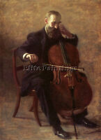 EAKINS THOMAS THE CELLO PLAYER ARTIST PAINTING REPRODUCTION HANDMADE OIL CANVAS