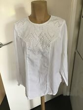 Ladies M&S Collection White Long Sleeved Top Size 16