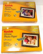 """BRAND NEW 2 PACKS OF 100 4x6"""" KODAK ULTIMA PHOTO PAPER - SATIN + HIGH GLOSS"""