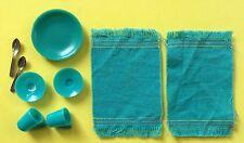 VTG BARBIE hostess set #1034 - PLATES, TEA CUPS, SAUCERS~SPOONS~PLACE MATS