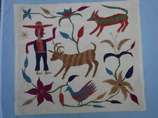 Antique Folk Art Embroidery on Muslin Panel Man Animals Floral 40""